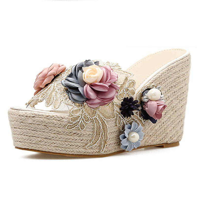 Buy Women's Wedge Shoes Sweet Party Slippers with Flowers