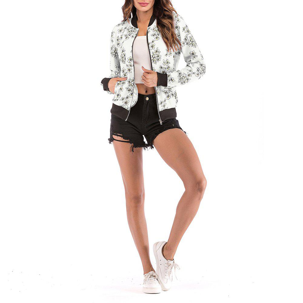 Affordable Women'S Colorful Printed Jacket Ladies Zipper Cardigan