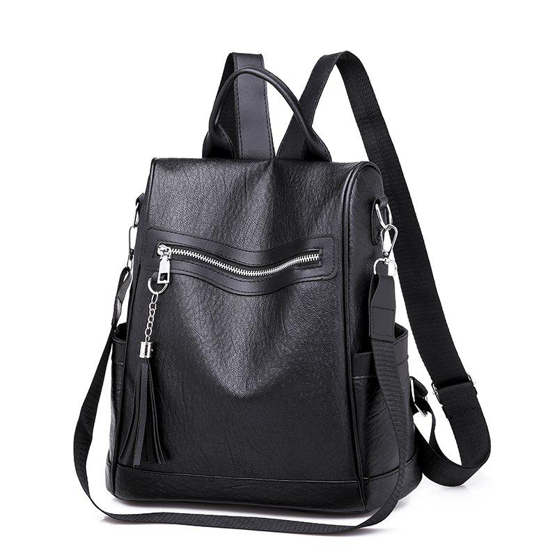 Online Soft Leather Tassel Backpack 2018 Anti-Theft Women'S Single-Shoulder Travel Back