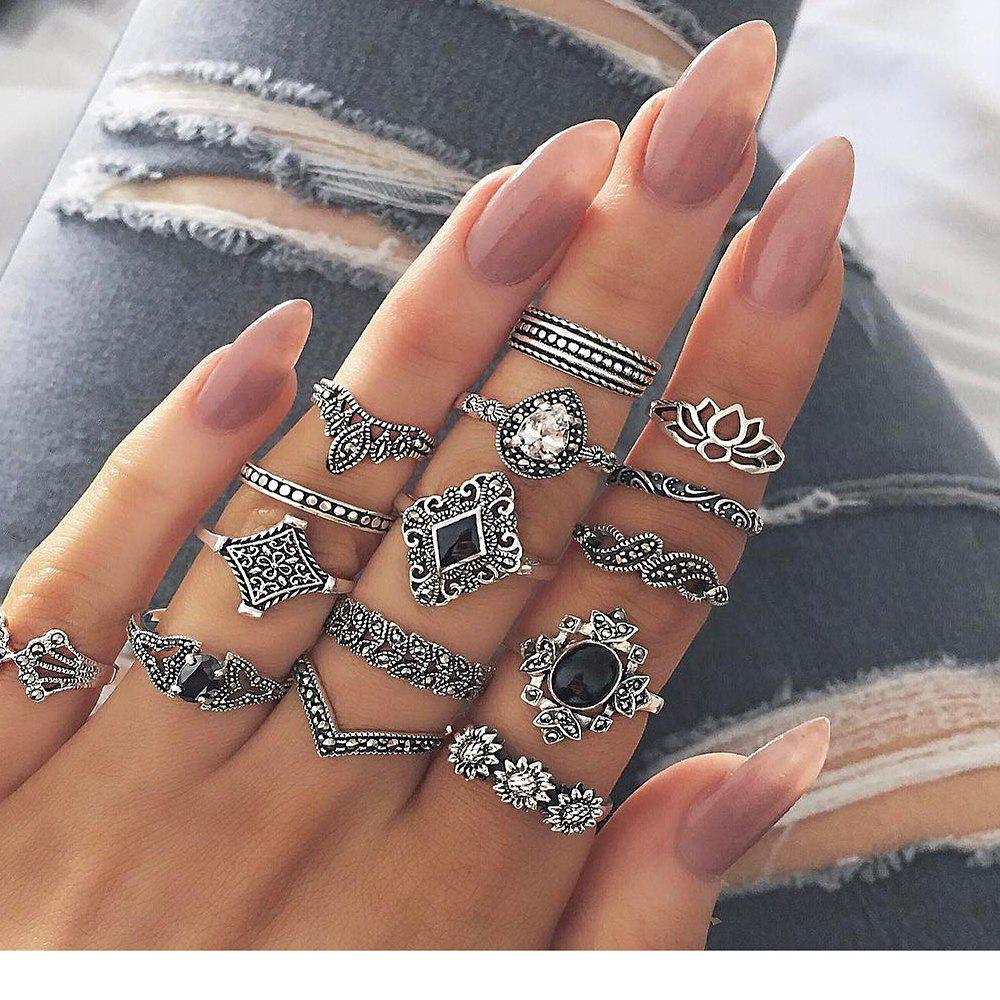 Best Bohemian Retro Silver Lotus Personality Women'S Ring 15 Pieces
