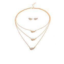 Personnalité de la mode féminine Golden Leaf Three Layers Collier boucles d'oreilles costume - Or 1 ensemble