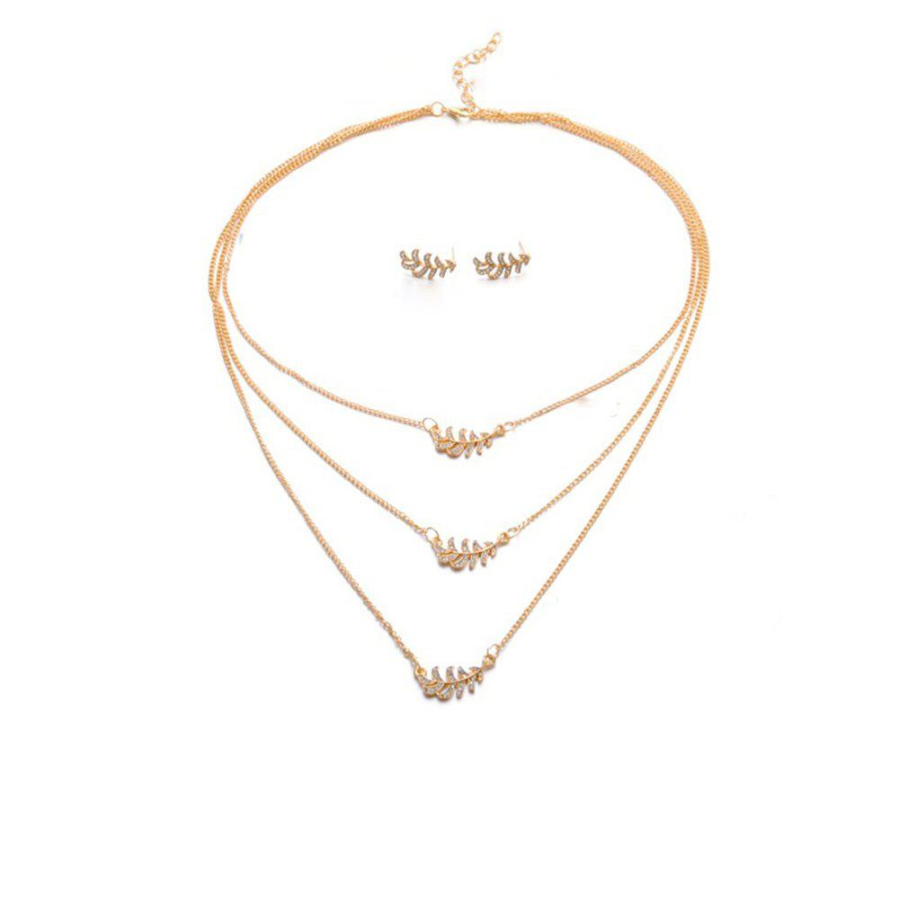 Personnalité de la mode féminine Golden Leaf Three Layers Collier boucles d'oreilles costume Or 1 ensemble