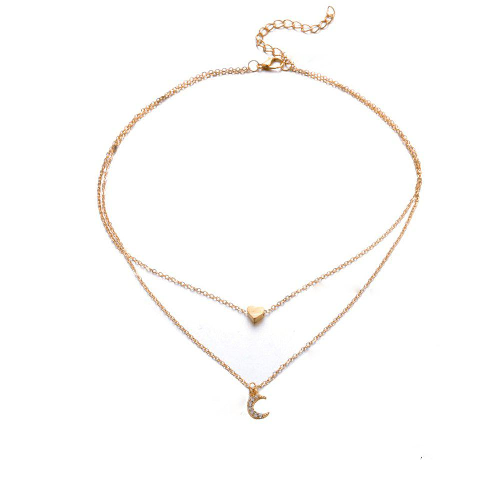 Costume simple chaine collier double collier lune d'amour Or 1 ensemble