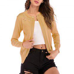 Knitt Pearl Solid Color Knitt Cardigan Jacket -
