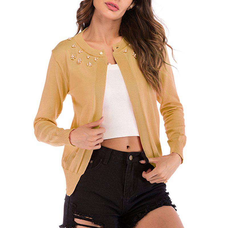 Trendy Knitt Pearl Solid Color Knitt Cardigan Jacket