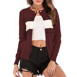 Stripe Stitching Knitt Cardigan Jacket -