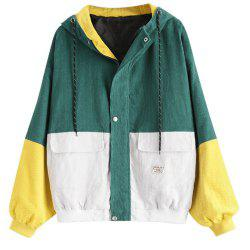 Loose Colorblock Hooded Baseball Uniform Corduroy Jacket -