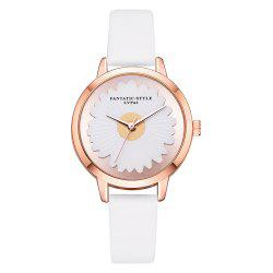 Lvpai P720 Sun Flower Mirror Watch Fashion Trend Printing PU Quartz Watch -