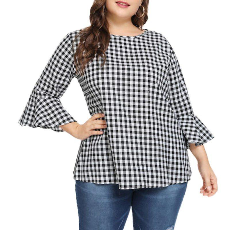 Fancy Plaid Round Collar Flare Sleeve Blouse