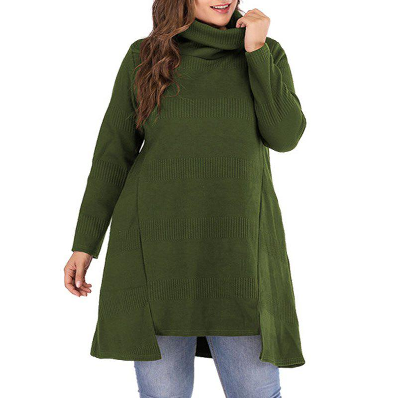 Sale Solid Color Heaps Collar Pullover Sweater