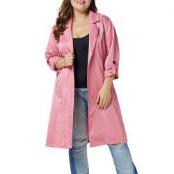 Solid Color Lapel 3/4 Length Loose Trench Coat -