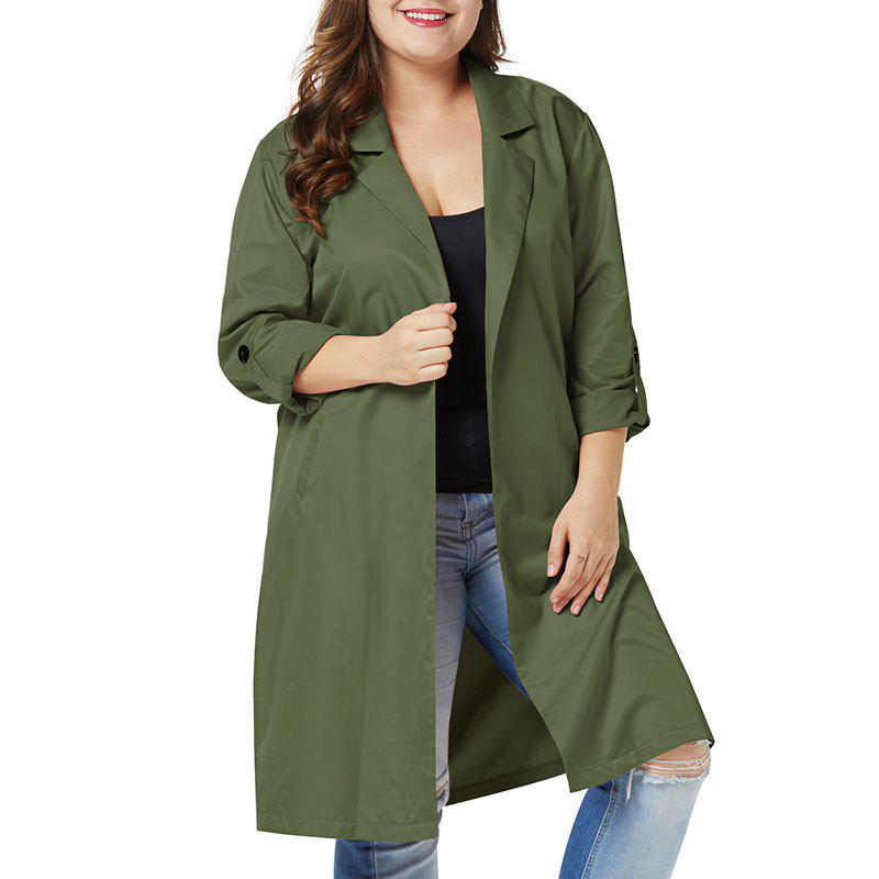 Fashion Solid Color Lapel 3/4 Length Loose Trench Coat