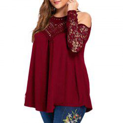 Solid Color Hollow Out Off Shoulder T Shirt -