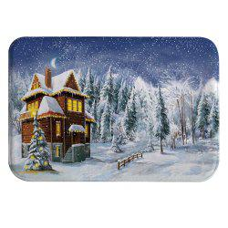 Snowy Cottage Digital Printed Flannel Memory Cotton Mat Mat -