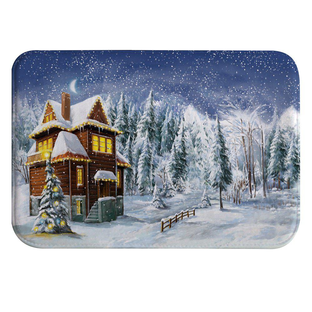 Affordable Snowy Cottage Digital Printed Flannel Memory Cotton Mat Mat