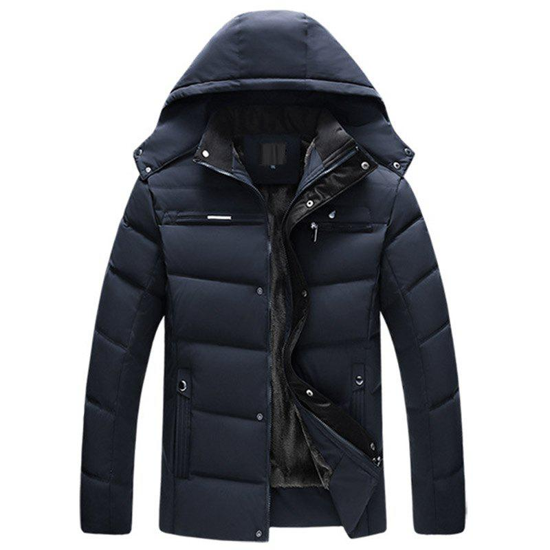 Shops New Man Fashion Full Sleeve with Cap Solid Thicken Parka