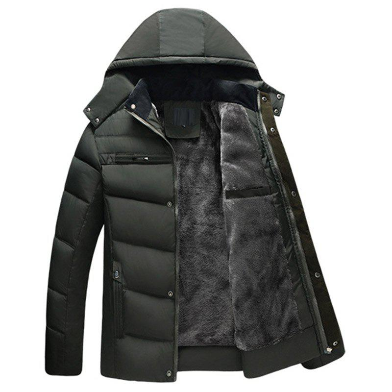 Fancy New Man Fashion Full Sleeve with Cap Solid Thicken Parka