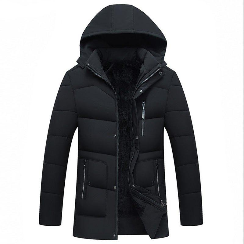 Shop New Man Fashion Full Sleeve with Cap Solid Warm Casual Parka Coat
