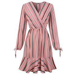 2019 Spring New Striped Print V-Neck Lotus Leaf Long Sleeved Dress -