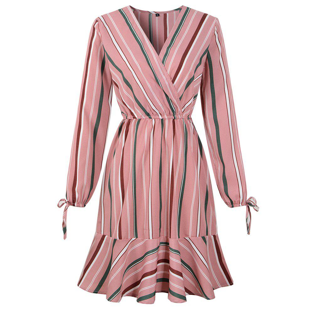 Store 2019 Spring New Striped Print V-Neck Lotus Leaf Long Sleeved Dress
