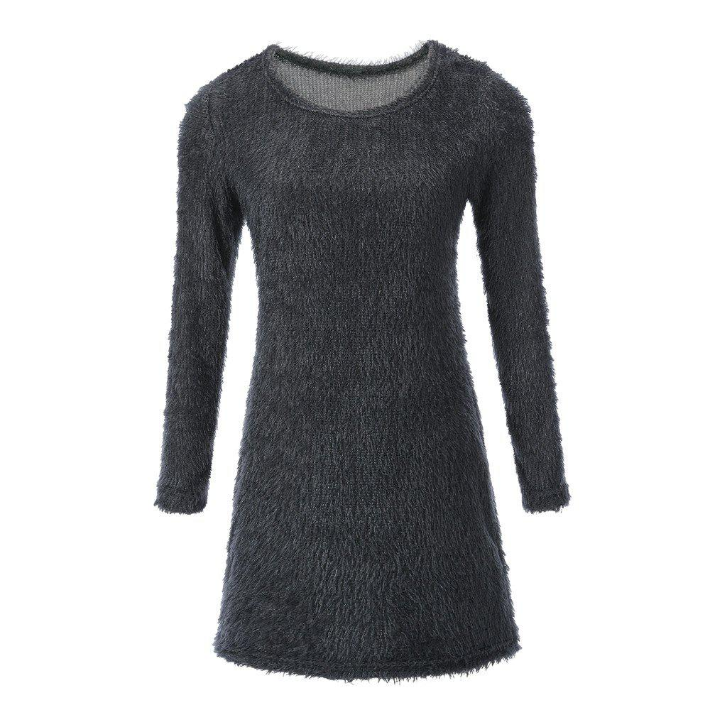 Discount Plush Long Sleeved Mini Dress