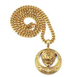 18K Gold Plated Round Lion Head Necklace -