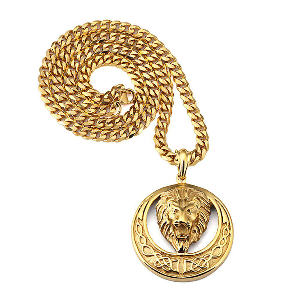 Hot 18K Gold Plated Round Lion Head Necklace