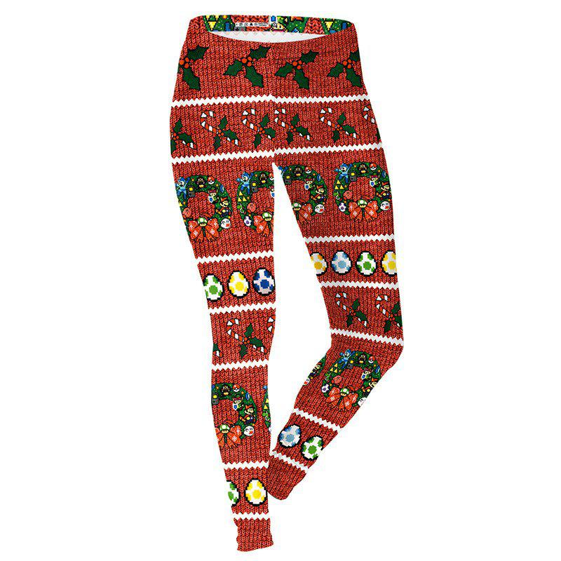 Latest Christmas Costume Decoration Pattern Print Clothes Women Sport Leggings