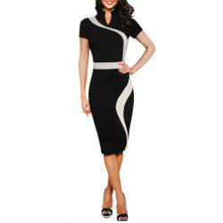 Women's Stand Collar Color Block Patchwork Slim Short Sleeve Pencil Dress -