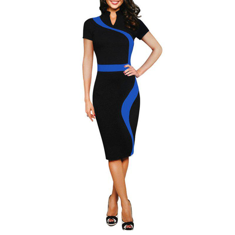 Shops Women's Stand Collar Color Block Patchwork Slim Short Sleeve Pencil Dress