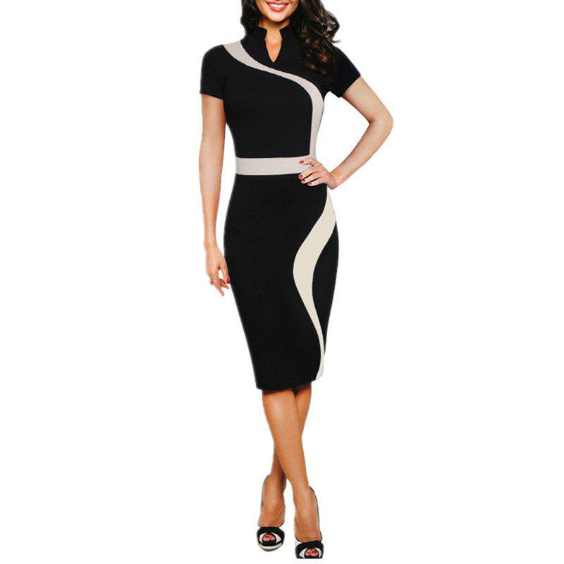 Cheap Women's Stand Collar Color Block Patchwork Slim Short Sleeve Pencil Dress