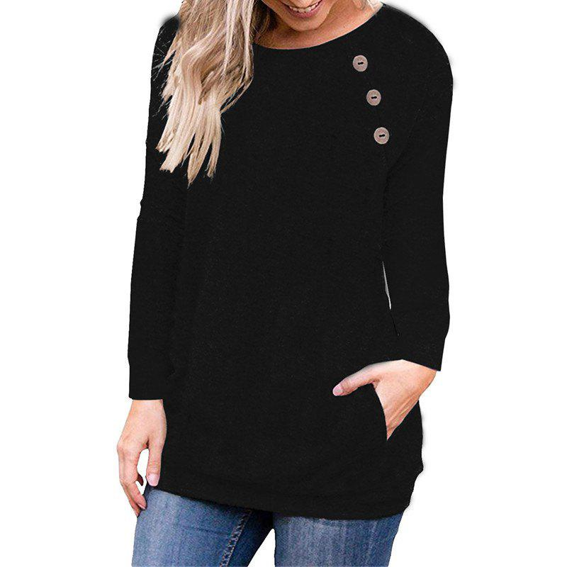 Chic Women's Round Neck Solid Color Long Sleeve Button Pocket Casual Wild T-shirt