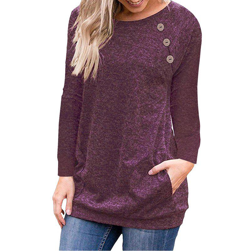 Store Women's Round Neck Solid Color Long Sleeve Button Pocket Casual Wild T-shirt