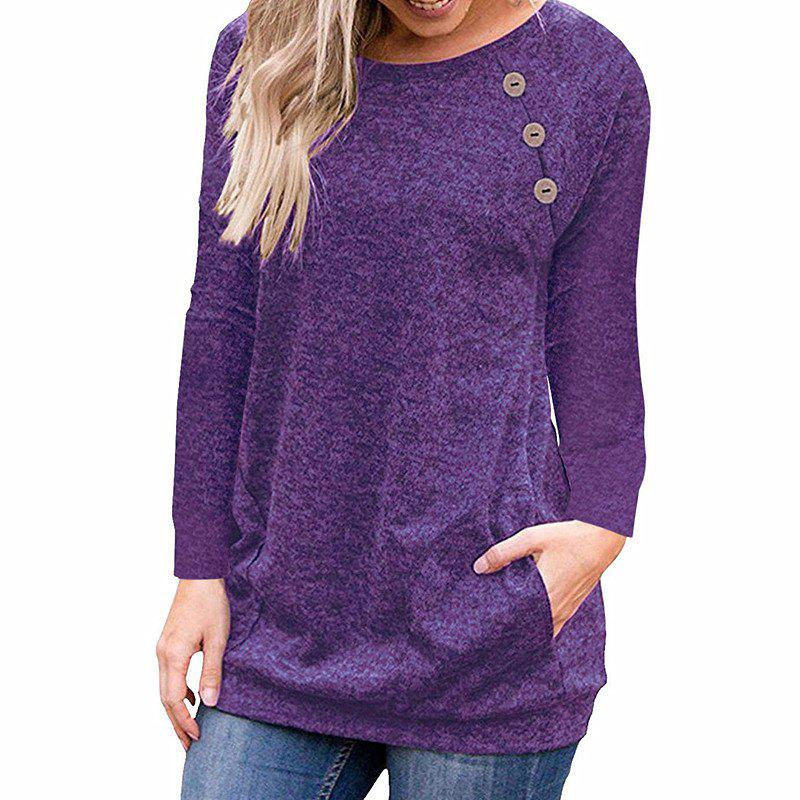 Buy Women's Round Neck Solid Color Long Sleeve Button Pocket Casual Wild T-shirt