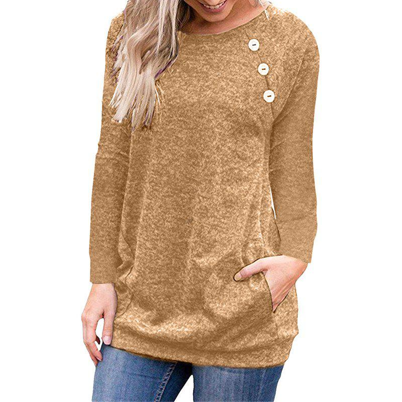 Best Women's Round Neck Solid Color Long Sleeve Button Pocket Casual Wild T-shirt
