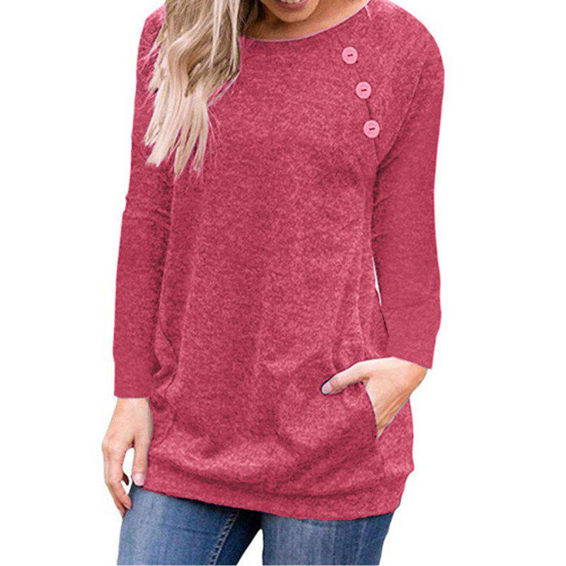 Online Women's Round Neck Solid Color Long Sleeve Button Pocket Casual Wild T-shirt