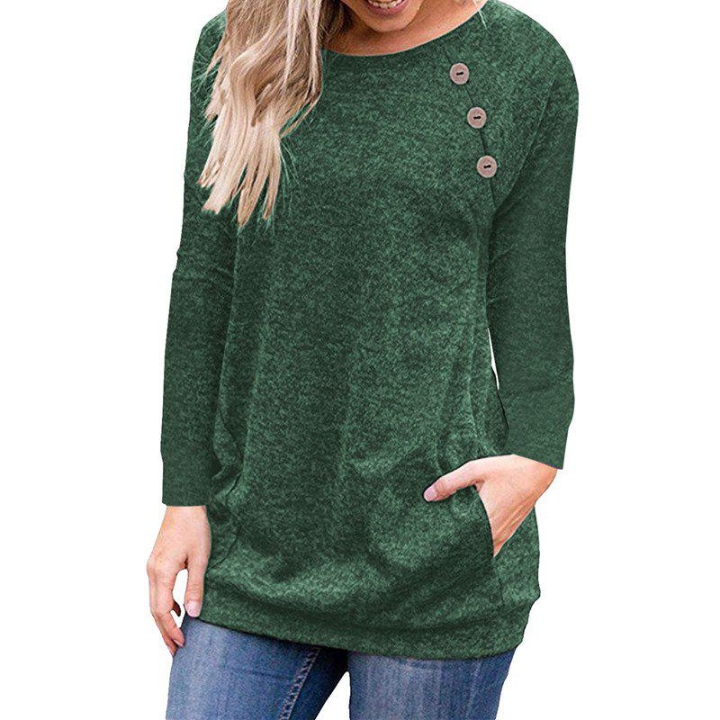 Latest Women's Round Neck Solid Color Long Sleeve Button Pocket Casual Wild T-shirt