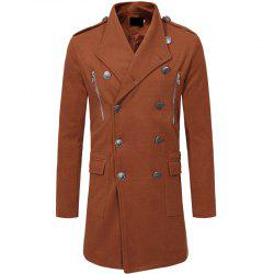 Men's Fashion Double-breasted Zippered Casual Slim Long Sleeves Long Woolen Coat -