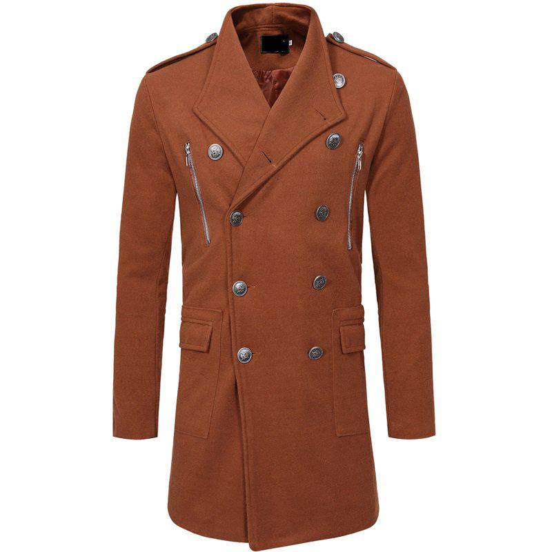Trendy Men's Fashion Double-breasted Zippered Casual Slim Long Sleeves Long Woolen Coat