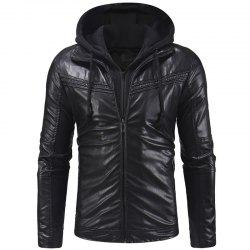 Pleated Design Men's Casual Slim Zipper Hooded Leather Jacket Leather -
