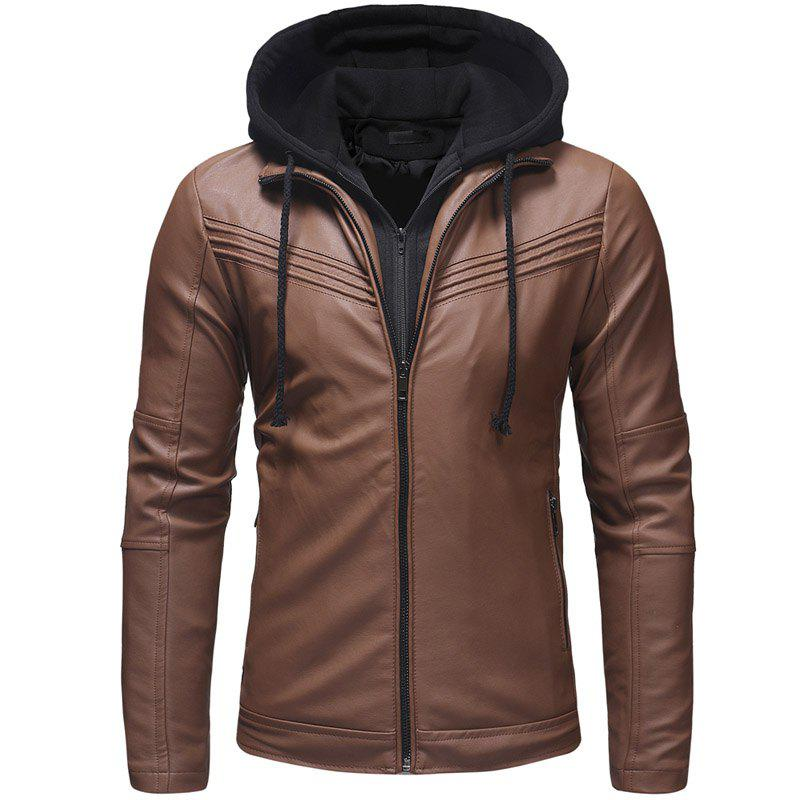 Hot Pleated Design Men's Casual Slim Zipper Hooded Leather Jacket Leather