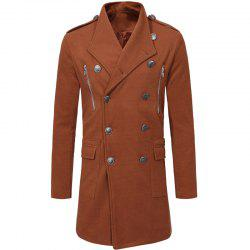 Fashion Double-breasted Large Lapel Men's Casual Slim Long Woolen Trench Coat -