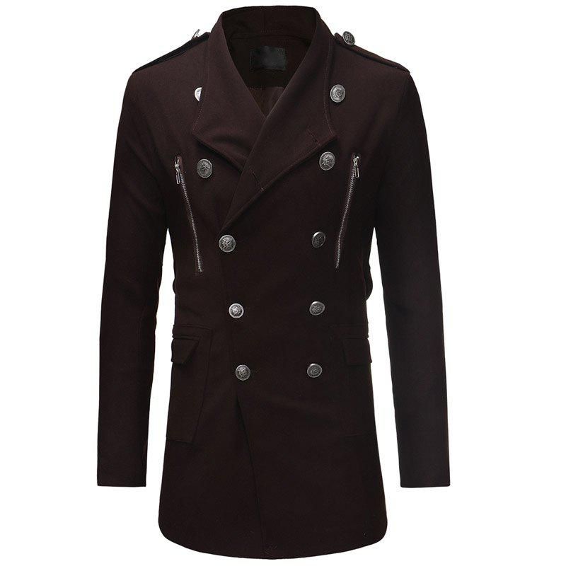 Outfit Fashion Double-breasted Large Lapel Men's Casual Slim Long Woolen Trench Coat