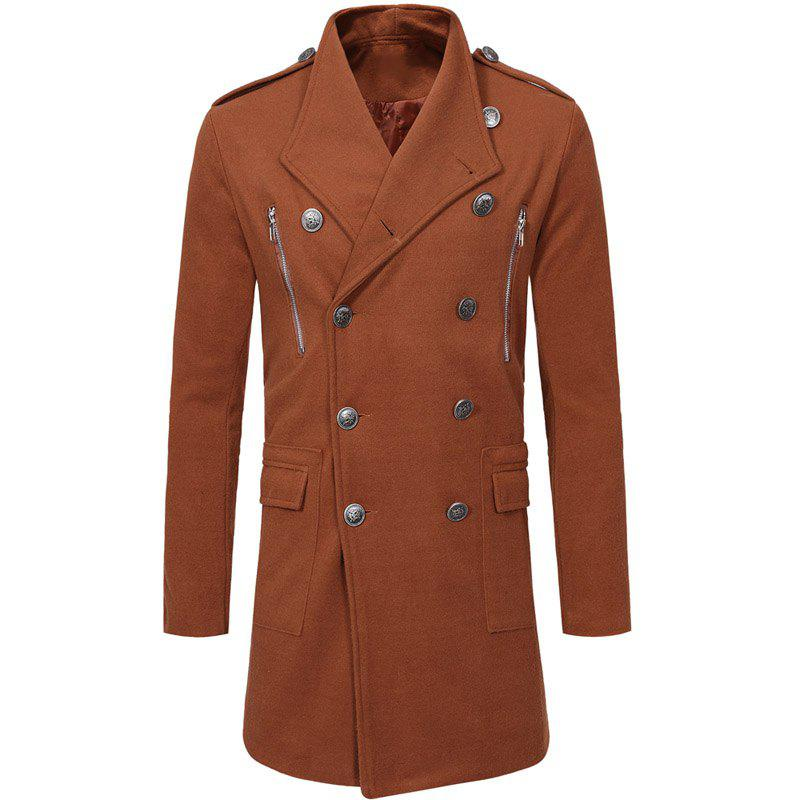 Store Fashion Double-breasted Large Lapel Men's Casual Slim Long Woolen Trench Coat