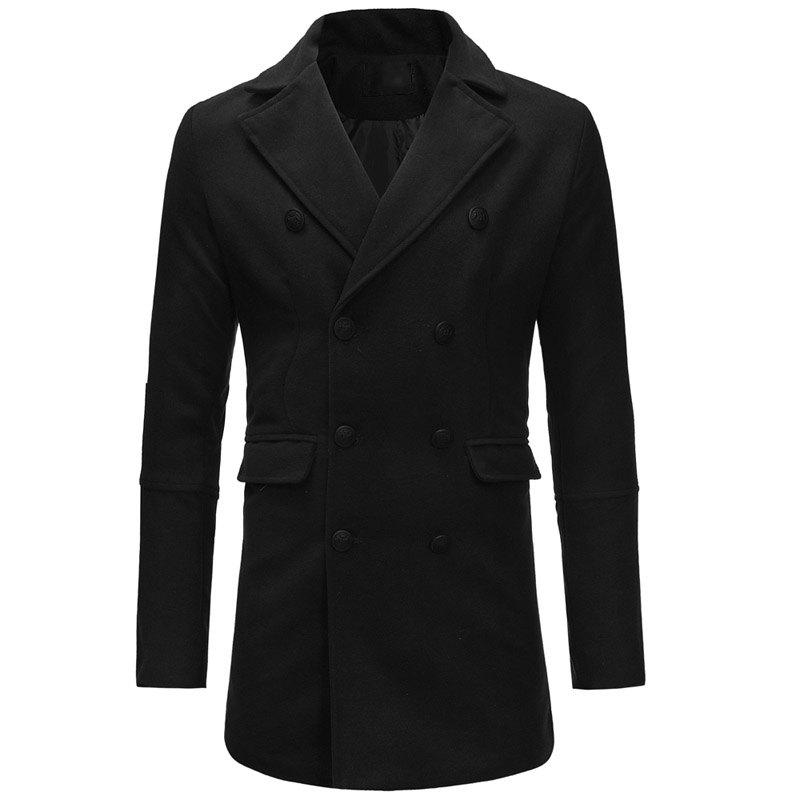 Affordable Men's Double-breasted Fashion Casual Slim Woolen Windbreaker Jacket