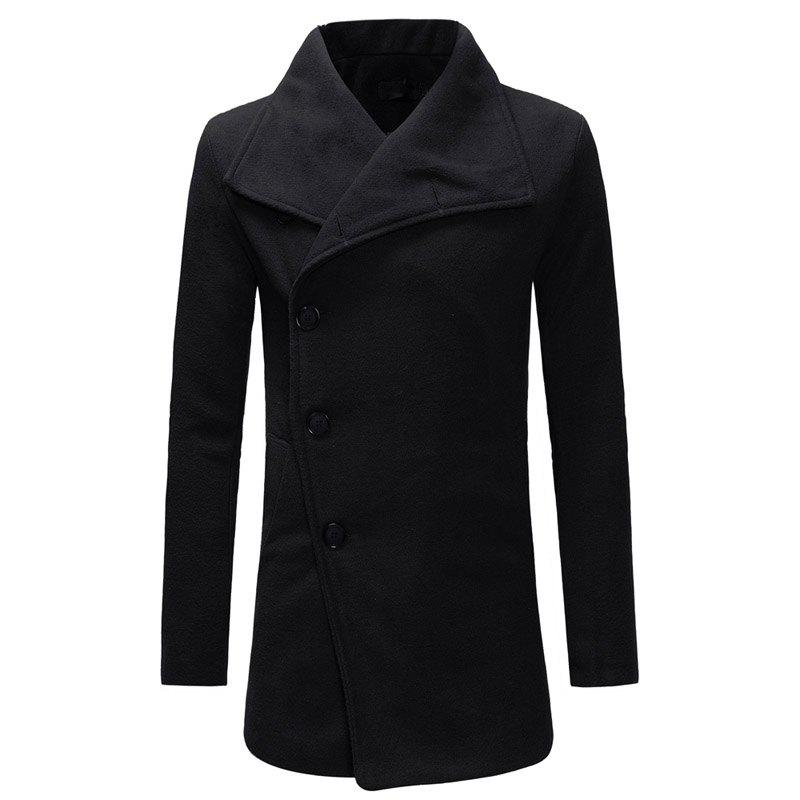 Store Placket Oblique Single-breasted Men's Casual Slim Woolen Coat