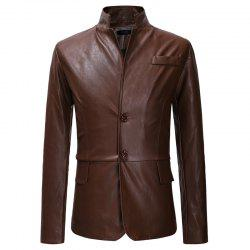 Double Buckle Men's Casual Slim Collar Leather Suit -