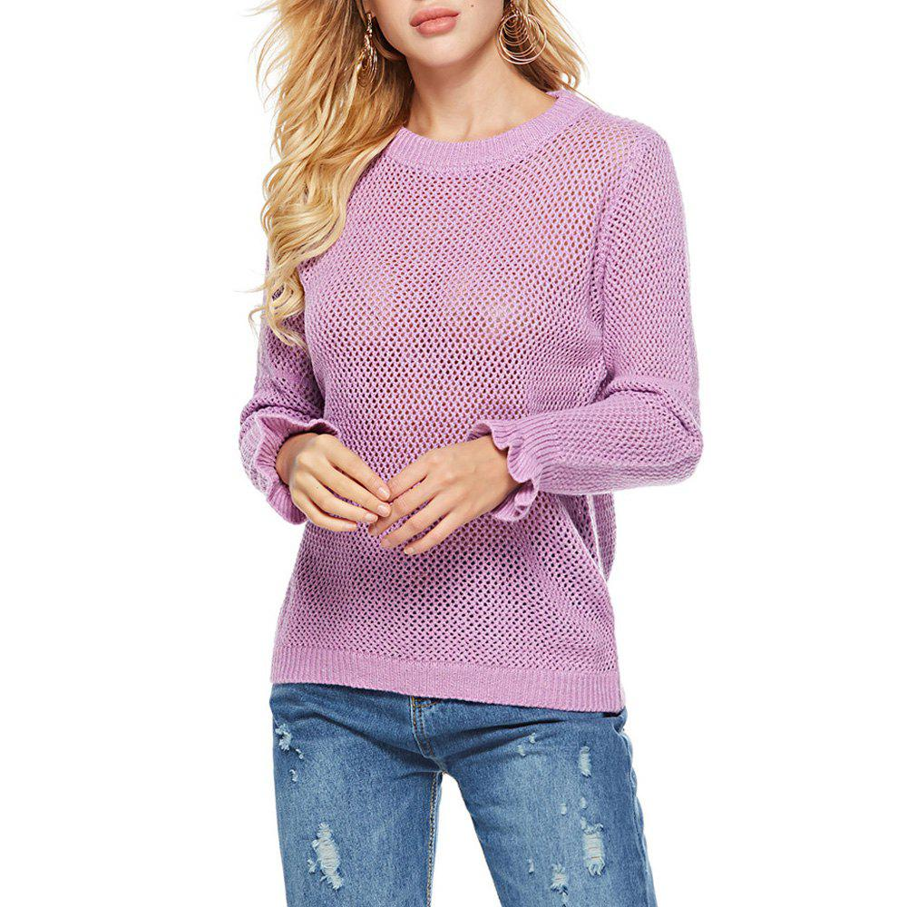 Shops Autumn And Winter Lotus Leaf Sleeve Sweater Round Neck Long Sleeve Sweater