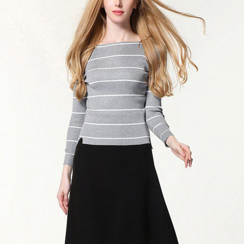 Shop Autumn And Winter Striped Knit Bottoming Sweater