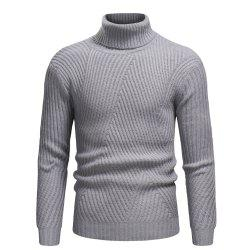 2018 Autumn and Winter New Men'S Casual High Collar Striped Sweater -